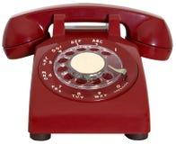 Κόκκινο αναδρομικό τηλέφωνο, άμεση επικοινωνία, που απομονώνεται στοκ εικόνες