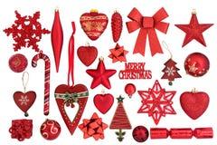 κόκκινο αντανακλαστικό καλυμμένο λευκό επιφάνειας στούντιο διακοσμήσεων Χριστουγέννων μπιχλιμπιδιών ανασκόπησης Στοκ Εικόνες