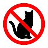 """Κόκκινο απαγορευμένο γυαλί σημάδι με τη μαύρη γάτα Ð ½ а бÐΜл Ð ¾ Ð ¼ Ñ """"Ð ¾ Ð ½ е στοκ εικόνες με δικαίωμα ελεύθερης χρήσης"""