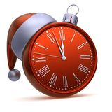 Κόκκινο ασήμι σφαιρών Χριστουγέννων προσώπου ρολογιών Μεσάνυχτα 1/νέο έτος 2ωρης ώρας ελεύθερη απεικόνιση δικαιώματος