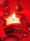 κόκκινο αστέρι κεριών Στοκ Εικόνες