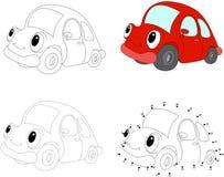 Κόκκινο αυτοκίνητο κινούμενων σχεδίων επίσης corel σύρετε το διάνυσμα απεικόνισης Σημείο για να διαστίξει το παιχνίδι για τα παιδ απεικόνιση αποθεμάτων