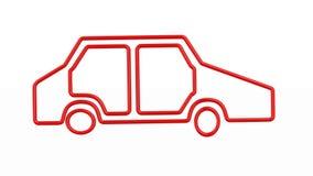Κόκκινο αυτοκίνητο σκιαγραφιών στο άσπρο υπόβαθρο που απομονώνεται τρισδιάστατος δίνει φιλμ μικρού μήκους