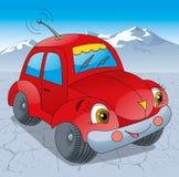 Κόκκινο αυτοκίνητο στο δρόμο Στοκ εικόνες με δικαίωμα ελεύθερης χρήσης