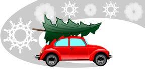 Κόκκινο αυτοκίνητο Χριστουγέννων διανυσματική απεικόνιση