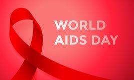 Κόκκινο αφίσα ή έμβλημα κορδελλών Παγκόσμιας Ημέρας κατά του AIDS για την παγκόσμια ημέρα συνειδητοποίησης την 1η Δεκεμβρίου Διαν Στοκ φωτογραφία με δικαίωμα ελεύθερης χρήσης