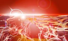Κόκκινο αφηρημένο υπόβαθρο τοπίων Παρδαλό ζωηρόχρωμο τοπίο με τα ρέοντας μόρια Κόκκινα, ρόδινα, πορτοκαλιά χρώματα επίσης corel σ Στοκ φωτογραφία με δικαίωμα ελεύθερης χρήσης