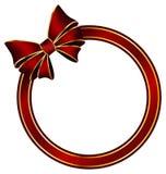 Κόκκινο δαχτυλίδι πλαισίων με το τόξο μεταξιού διανυσματική απεικόνιση