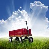 κόκκινο βαγόνι εμπορευμά&t Στοκ Εικόνες
