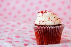 Κόκκινο βελούδο cupcake στη ρόδινη και άσπρη ανασκόπηση Στοκ Εικόνες