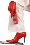 κόκκινο γαντιών μποτών Στοκ Εικόνα