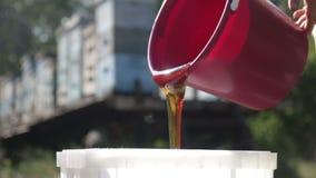 Κόκκινο γατάκι με την κόκκινη και κίτρινη μάλλινη σύγχυση απόθεμα βίντεο