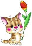 κόκκινο γατακιών β ριγωτό Στοκ εικόνα με δικαίωμα ελεύθερης χρήσης