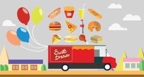 Κόκκινο γρήγορο φαγητό βαγονιών εμπορευμάτων με τα μπαλόνια Στοκ Εικόνες