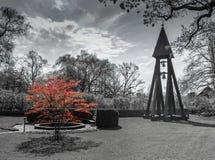 Κόκκινο δέντρο στη γραπτή εικόνα στοκ εικόνες