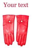 κόκκινο δέρματος γαντιών Στοκ Εικόνες