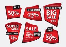 Κόκκινο διάνυσμα εμβλημάτων, πρότυπο εμβλημάτων πώλησης, κορδέλλες που απομονώνονται οριζόντια, ετικέτες, αυτοκόλλητες ετικέττες, Στοκ φωτογραφίες με δικαίωμα ελεύθερης χρήσης