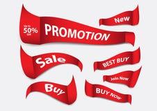 Κόκκινο διάνυσμα εμβλημάτων, πρότυπο εμβλημάτων πώλησης, κορδέλλες που απομονώνονται οριζόντια, ετικέτες, αυτοκόλλητες ετικέττες, Στοκ φωτογραφία με δικαίωμα ελεύθερης χρήσης