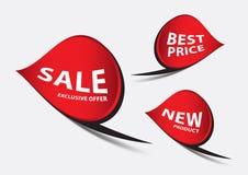 Κόκκινο διάνυσμα εμβλημάτων, πρότυπο εμβλημάτων πώλησης, κορδέλλες που απομονώνονται οριζόντια, ετικέτες, αυτοκόλλητες ετικέττες, Στοκ εικόνα με δικαίωμα ελεύθερης χρήσης