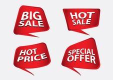 Κόκκινο διάνυσμα εμβλημάτων, πρότυπο εμβλημάτων πώλησης, ορθογώνιο που απομονώνεται οριζόντια, ετικέτες, αυτοκόλλητες ετικέττες,  Στοκ φωτογραφία με δικαίωμα ελεύθερης χρήσης