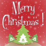Κόκκινο διάνυσμα ευχετήριων καρτών Χαρούμενα Χριστούγεννας απεικόνιση αποθεμάτων