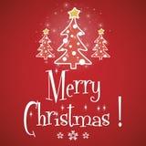Κόκκινο διάνυσμα ευχετήριων καρτών Χαρούμενα Χριστούγεννας διανυσματική απεικόνιση