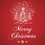 Κόκκινο διάνυσμα ευχετήριων καρτών Χαρούμενα Χριστούγεννας Στοκ φωτογραφία με δικαίωμα ελεύθερης χρήσης