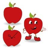 Κόκκινο διάνυσμα κινούμενων σχεδίων μήλων Στοκ Φωτογραφία