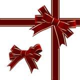 κόκκινο διάνυσμα κορδελλών Χριστουγέννων τόξων Στοκ Εικόνες