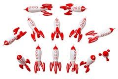 Κόκκινο διαστημικό σκάφος πυραύλων που απομονώνεται στην άσπρη απόδοση δ διανυσματική απεικόνιση