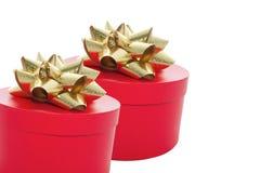κόκκινο δύο δώρων κιβωτίων Στοκ Φωτογραφία