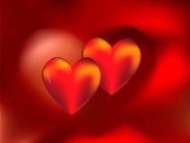κόκκινο δύο καρδιών Στοκ φωτογραφία με δικαίωμα ελεύθερης χρήσης