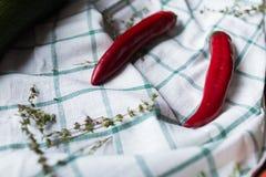 Κόκκινο δύο - τα καυτά πιπέρια τσίλι βρίσκονται σε ένα ντυμένο ύφασμα Το Hurbs χρησιμοποιείται ως διακόσμηση Στοκ Εικόνες