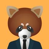 Κόκκινο είδωλο panda που φορά το κοστούμι Στοκ Εικόνα