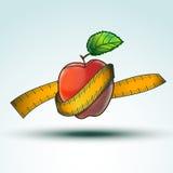 Κόκκινο εικονίδιο της Apple για τα υγιή τρόφιμα σιτηρεσίου που απομονώνεται στο W Στοκ φωτογραφία με δικαίωμα ελεύθερης χρήσης