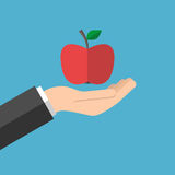 κόκκινο εκμετάλλευσης χεριών μήλων διανυσματική απεικόνιση