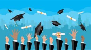κόκκινο εκπαίδευσης έννοιας βιβλίων μήλων Κολλέγιο, πανεπιστημιακή τελετή διανυσματική απεικόνιση