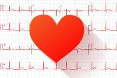 Κόκκινο επίπεδο εικονίδιο καρδιών στη χαρακτηριστική ανθρώπινη γραφική παράσταση ηλεκτροκαρδιογραφημάτων με τα σημάδια Στοκ Φωτογραφίες
