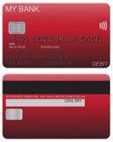 Κόκκινο λεπτομέρειας χρεωστικών καρτών Στοκ εικόνα με δικαίωμα ελεύθερης χρήσης