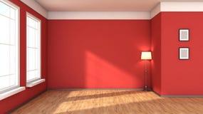 Κόκκινο εσωτερικό με το μεγάλο παράθυρο Στοκ εικόνα με δικαίωμα ελεύθερης χρήσης