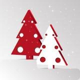 Κόκκινο λευκό χριστουγεννιάτικων δέντρων Στοκ εικόνες με δικαίωμα ελεύθερης χρήσης