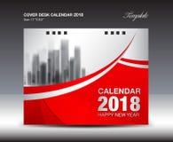 Κόκκινο ημερολογιακό 2018 έτος γραφείων κάλυψης, σχέδιο προτύπων απεικόνιση αποθεμάτων
