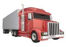 Κόκκινο ημι φορτηγό 18 μεγάλος μεταφορέας εγκαταστάσεων γεώτρησης πολυασχόλων Στοκ εικόνες με δικαίωμα ελεύθερης χρήσης