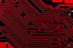 Κόκκινο ηλεκτρονικό κύκλωμα υπολογιστών Στοκ Φωτογραφίες