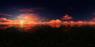 Κόκκινο ηλιοβασίλεμα σε μια λίμνη Στοκ Εικόνες