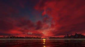 Κόκκινο ηλιοβασίλεμα σε μια πόλη ουρανοξυστών διανυσματική απεικόνιση