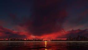 Κόκκινο ηλιοβασίλεμα σε μια πόλη ουρανοξυστών απεικόνιση αποθεμάτων