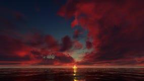 Κόκκινο ηλιοβασίλεμα στον ωκεανό ελεύθερη απεικόνιση δικαιώματος