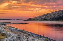 Κόκκινο ηλιοβασίλεμα Lilleby στοκ εικόνα