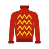 Κόκκινο θερμό εικονίδιο πουλόβερ, επίπεδο ύφος Στοκ εικόνα με δικαίωμα ελεύθερης χρήσης